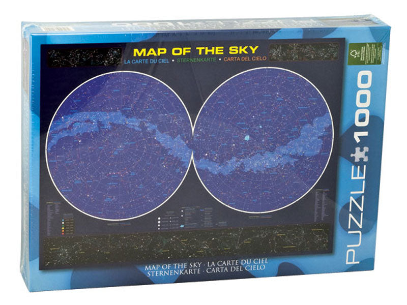 1,000 Piece Jigsaw Puzzle made from Recycled Paper depicting Various Constellations in an Astrological Star Chart of the Night Sky shown in its original packaging by EuroGraphics.