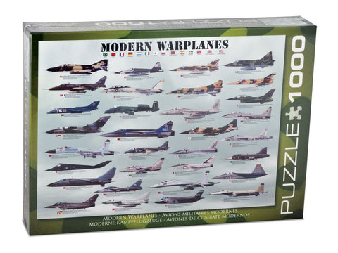 1,000 Piece Jigsaw Puzzle made from Recycled Paper depicting Various Military, Stealth, Fighter, Bomber and Ground Attack Military Warplane Aircraft shown in its original packaging by EuroGraphics.