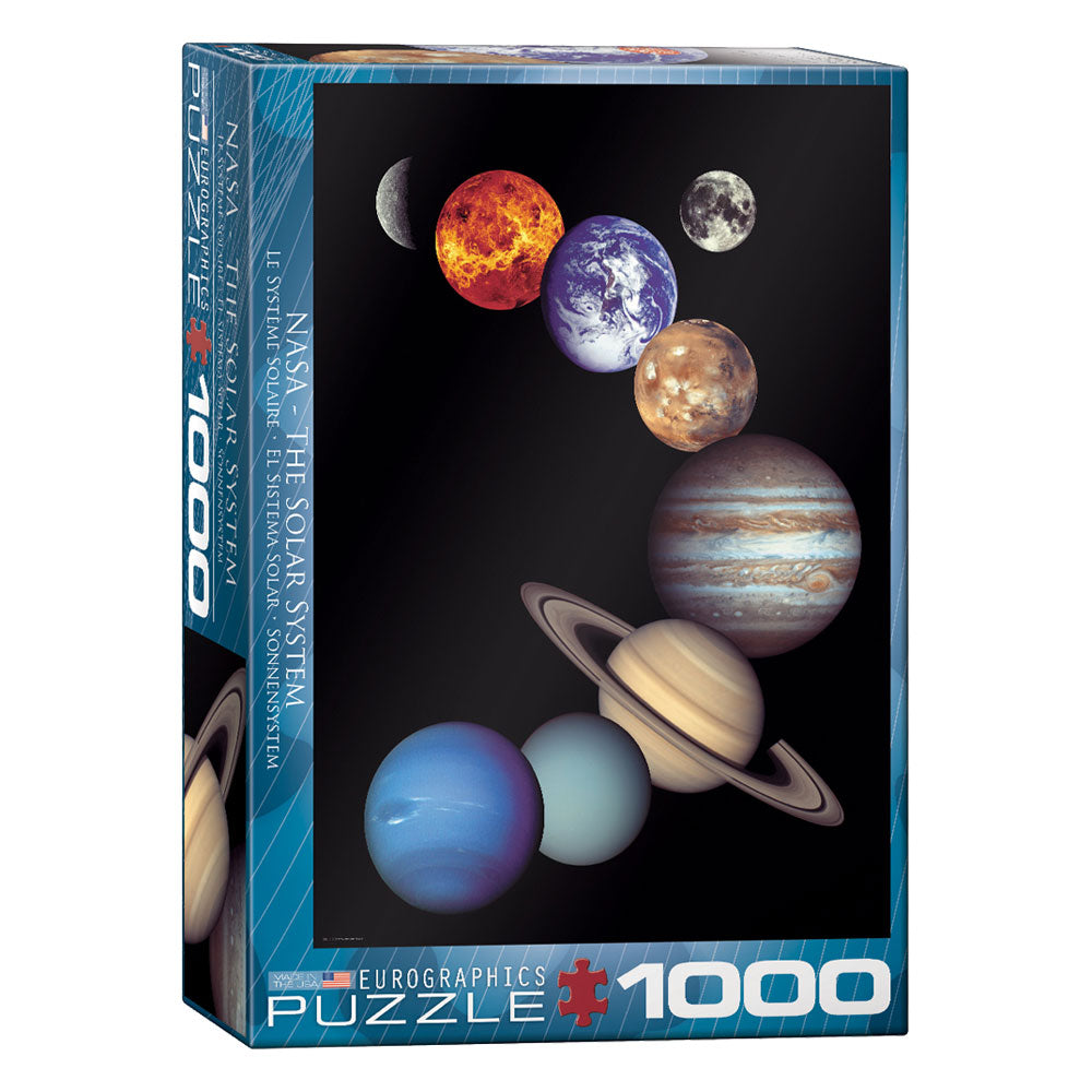 1,000 Piece Jigsaw Puzzle made from Recycled Paper depicting Planets of the Solar System (Mercury, Venus, Earth, Moon, Mars, Jupiter, Saturn, Uranus, Neptune, Pluto) in its original packaging by EuroGraphics.
