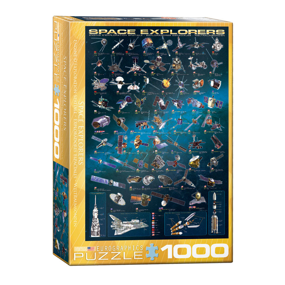 1,000 Piece Jigsaw Puzzle made from Recycled Paper depicting Various  Space Explorer Satellites and Space Rockets throughout History shown in its original packaging by EuroGraphics.