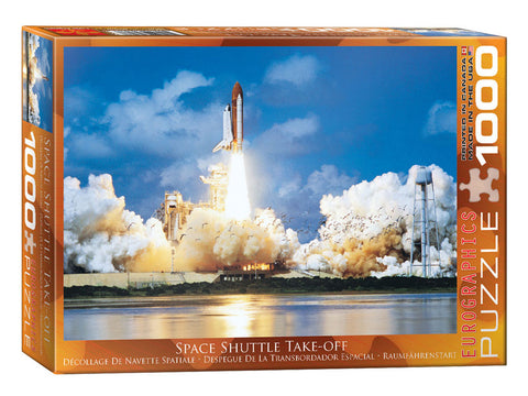 1,000 Piece Jigsaw Puzzle made from Recycled Paper depicting the Space Shuttle Discovery Lifting Off from Kennedy Space Center shown in its original packaging by EuroGraphics.