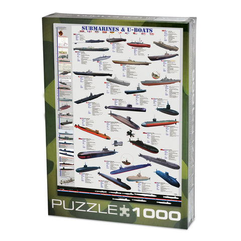 1,000 Piece Jigsaw Puzzle made from Recycled Paper depicting Information and illustrations of Various Submarines and U-Boats throughout History shown in its original packaging by EuroGraphics.