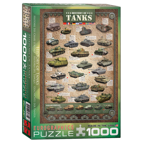 1,000 Piece Jigsaw Puzzle made from Recycled Paper depicting the History of Various Military Tanks and Tank Destroyers in its original packaging by EuroGaphics.