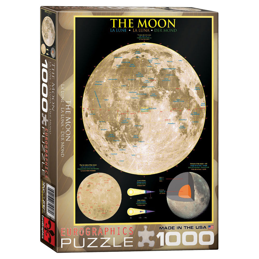1,000 Piece Jigsaw Puzzle made from Recycled Paper depicting the Lunar Surface along with Important Geographical Locations and Diagrams of the Core and Moon Phases shown in its original packaging by EuroGraphics.