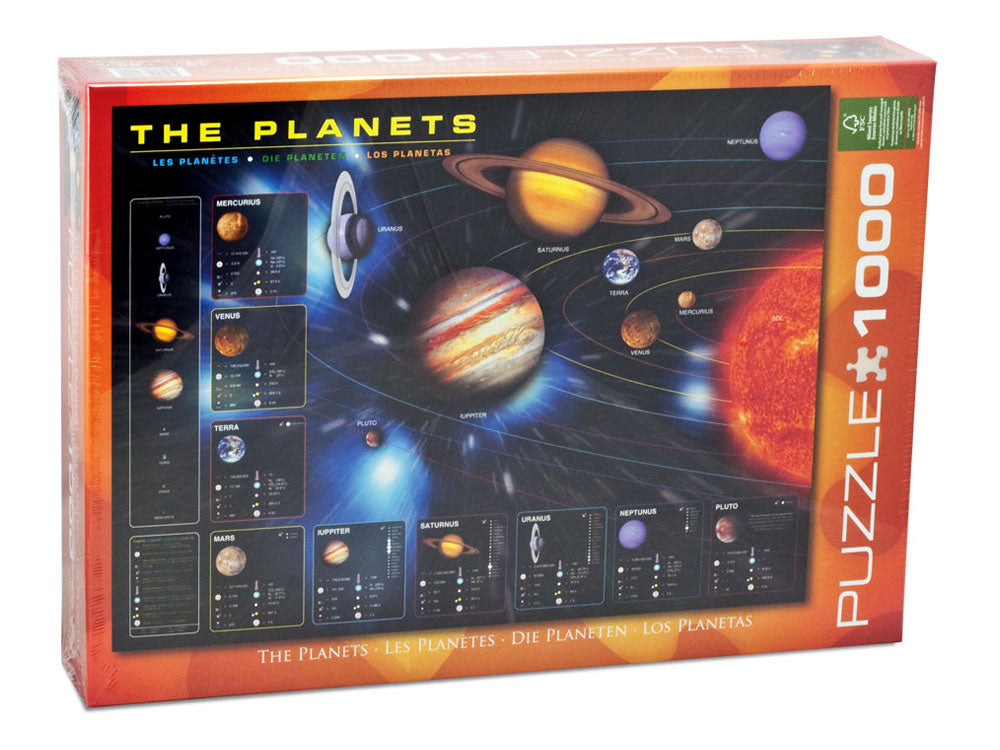 1,000 Piece Jigsaw Puzzle made from Recycled Paper depicting an Illustration of the Solar System and Diagrams of the 9 Planets and their Moons shown in its original packaging by EuroGraphics.