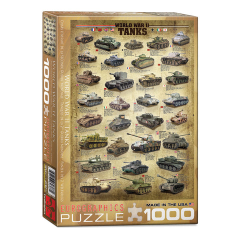 1,000 Piece Jigsaw Puzzle made from Recycled Paper depicting Images, Illustrations and Information about Various World War II Military Tanks shown in its original packaging by EuroGraphics.