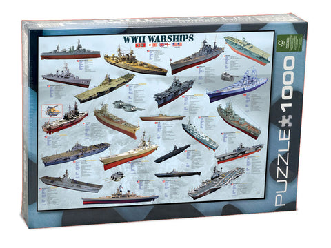 1,000 Piece Jigsaw Puzzle made from Recycled Paper depicting World War II Warships, Battleships, Submarines, Artillery and Aircraft Carrier shown in its original packaging by EuroGraphics.