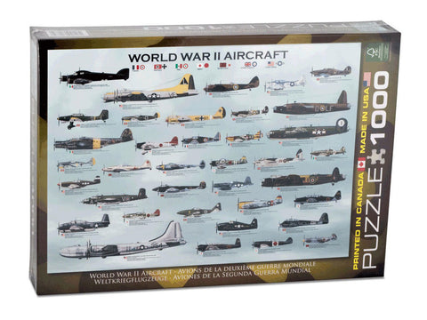 1,000 Piece Jigsaw Puzzle made from Recycled Paper depicting Various Bomber & Fighter Aircraft used by both the Allied Forces and the Axis Powers in World War II shown in its original packaging by EuroGraphics.