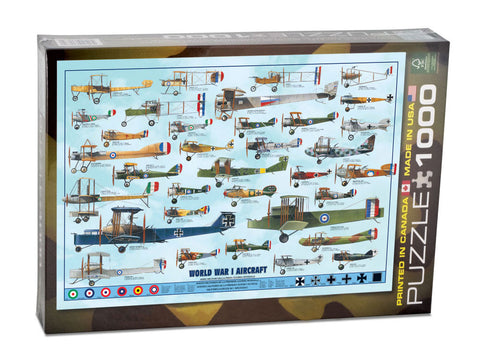 1,000 Piece Jigsaw Puzzle made from Recycled Paper depicting Various  Biplane & Triplane Aircraft used during World War I shown in its original packaging by EuroGraphics.