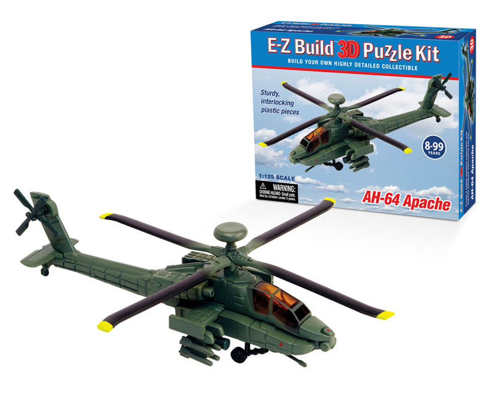 1:125 Scale Detailed 3 Dimensional Collectible Puzzle Replica of the AH-64 Apache Helicopter with 30 Durable Plastic Pieces that Precisely Interlock Together by E-Z Build.