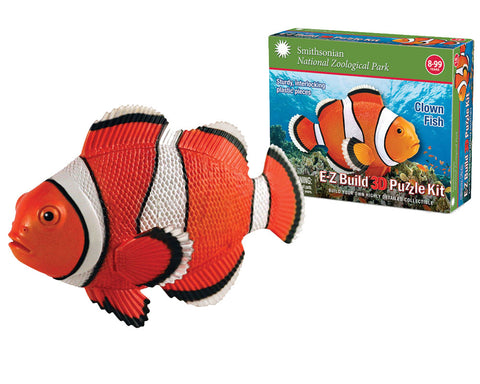 Durable Detailed Plastic 3-Dimensional Puzzle of a Clown Fish that comes in 18 Precisely Interlocking Small Plastic Pieces and when Assembled Creates a Highly Detailed Replica for Display or Play.