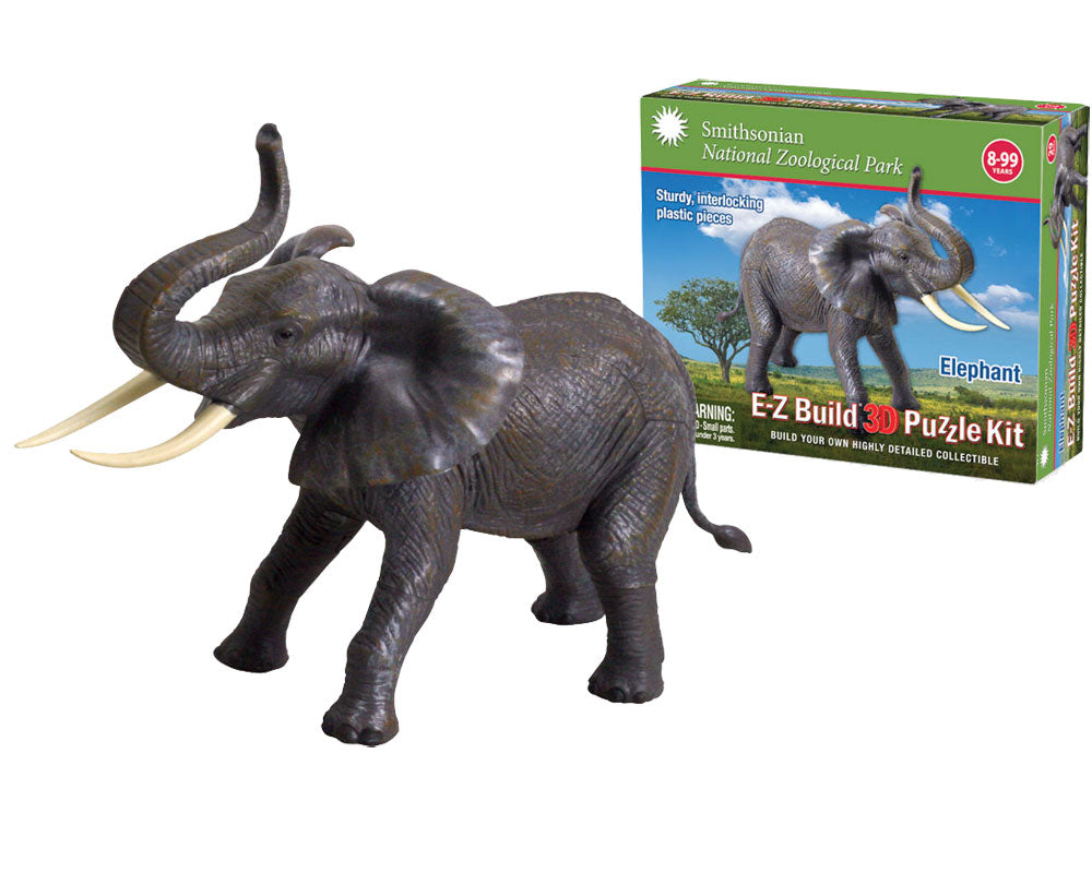 Durable Detailed Plastic 3-Dimensional Puzzle of a Safari Zoo Animal Elephant that comes in 29 Precisely Interlocking Small Plastic Pieces and when Assembled Creates a Highly Detailed Replica for Display or Play.