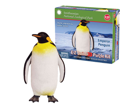 Durable Detailed Plastic 3-Dimensional Puzzle of an Arctic Penguin that comes in 18 Precisely Interlocking Small Plastic Pieces and when Assembled Creates a Highly Detailed Replica for Display or Play.