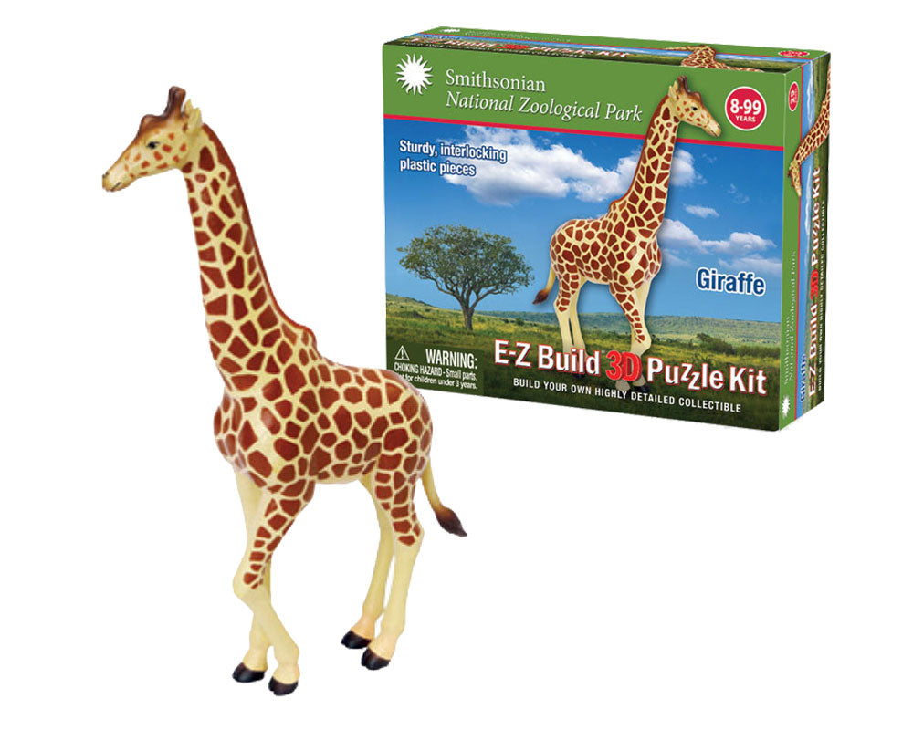 Durable Detailed Plastic 3-Dimensional Puzzle of a Safari Zoo Animal Giraffe that comes in 29 Precisely Interlocking Small Plastic Pieces and when Assembled Creates a Highly Detailed Replica for Display or Play.