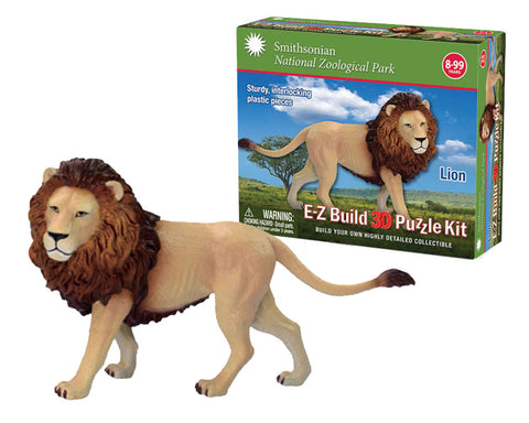Durable Detailed Plastic 3-Dimensional Puzzle of a Safari Zoo Animal Lion that comes in 25 Precisely Interlocking Small Plastic Pieces and when Assembled Creates a Highly Detailed Replica for Display or Play.