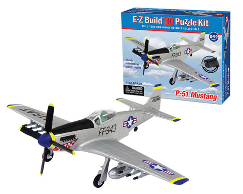 Highly Detailed 3 Dimensional Collectible Puzzle Replica of a North American P-51 Mustang Aircraft with 37 Durable Plastic Pieces that Precisely Interlock Together by E-Z Build.