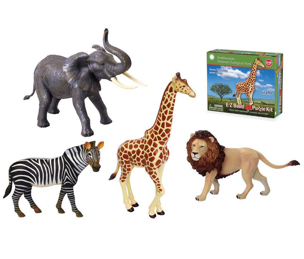 SET of 4 Durable Detailed Plastic 3-Dimensional Interlocking Puzzle Replicas of Zoo Safari Animals including an Elephant, Giraffe, Lion and Zebra that each require Assembly.