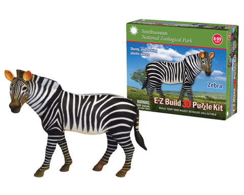 Durable Detailed Plastic 3-Dimensional Puzzle of a Safari Zoo Animal Zebra that comes in 24 Precisely Interlocking Small Plastic Pieces and when Assembled Creates a Highly Detailed Replica for Display or Play.