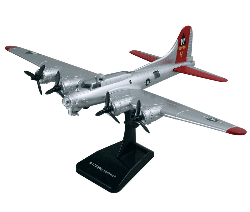 Durable Plastic Desktop Model Replica of the Boeing B-17 Flying Fortress World War II Heavy Bomber Aircraft with Spinning Props, Detailed Markings and Display Stand.
