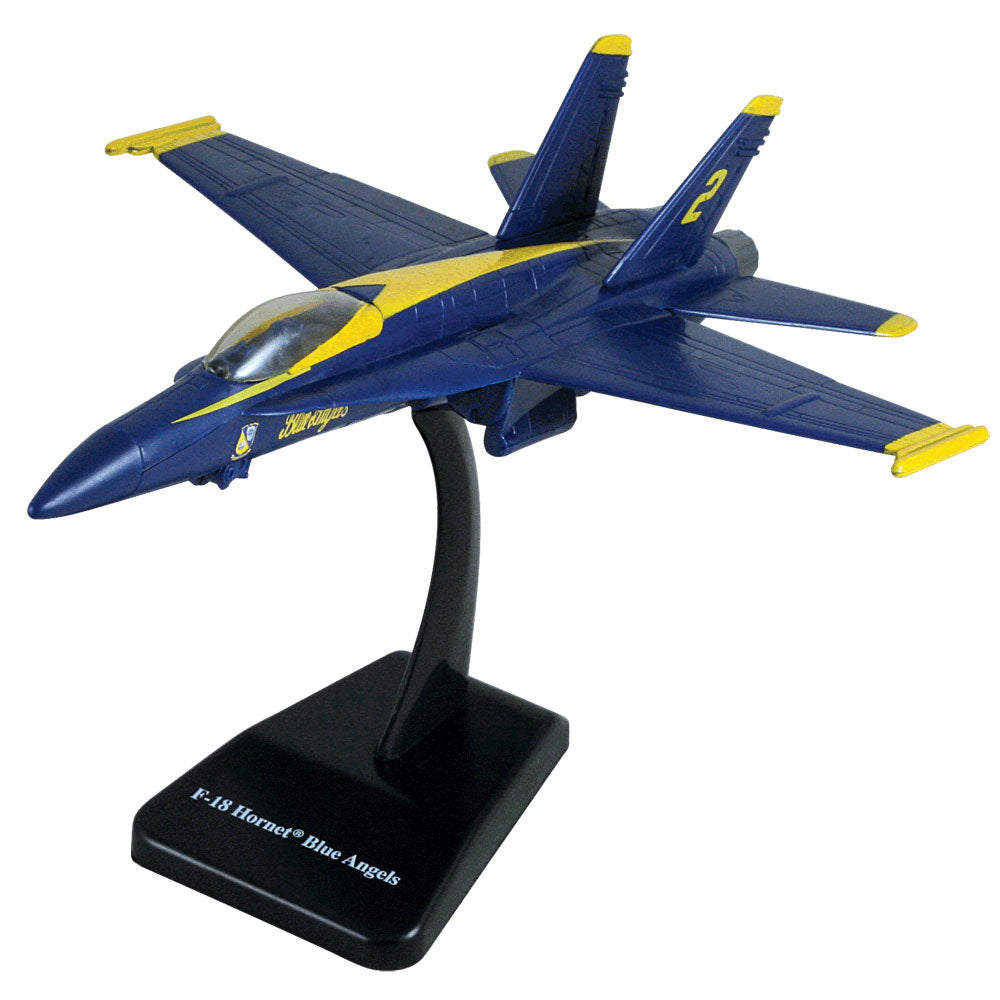 1:72 Scale Durable Plastic Desktop Model Replica of the McDonnell Douglas F/A-18 Hornet Blue Angels Jet Fighter Aircraft with Detailed Markings and Display Stand.