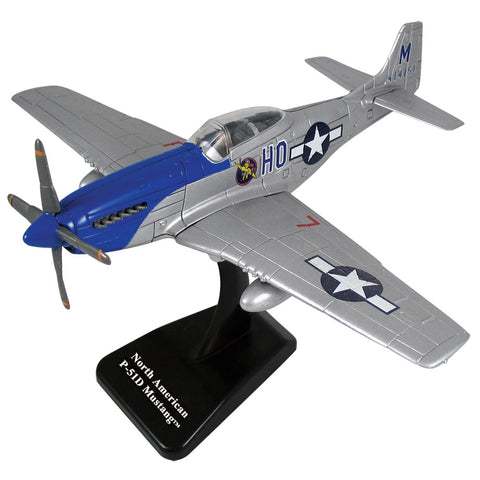 1:72 Scale Durable Plastic Desktop Model Replica of the North American P-51 Mustang World War II Fighter Bomber Aircraft with Spinning Props, Detailed Markings and Display Stand.