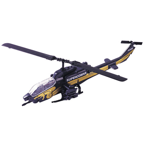 1:100 Scale Die Cast Metal Replica of Bell AH-1W Super Cobra Helicopter with Historical Markings, Educational Collectors Card, and Display Stand by RedBox / Motormax.