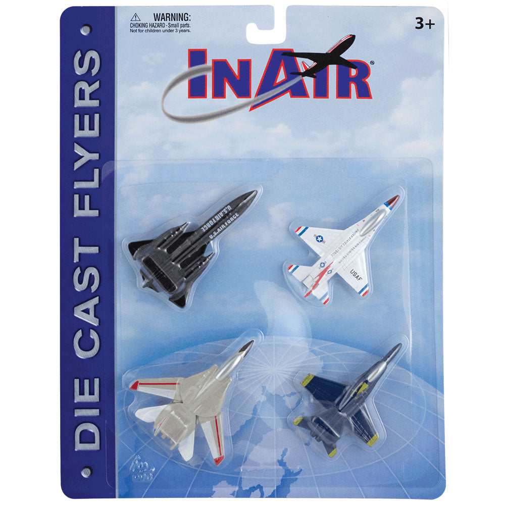SET of 4 Durable Die Cast Modern Fighter Bomber Aircraft with Authentic Markings and Details including the F-18 Hornet Blue Angels, F-14 Tomcat, F-16 Fighting Falcon Thunderbirds, & SR-71 Blackbird in its Original Packaging.