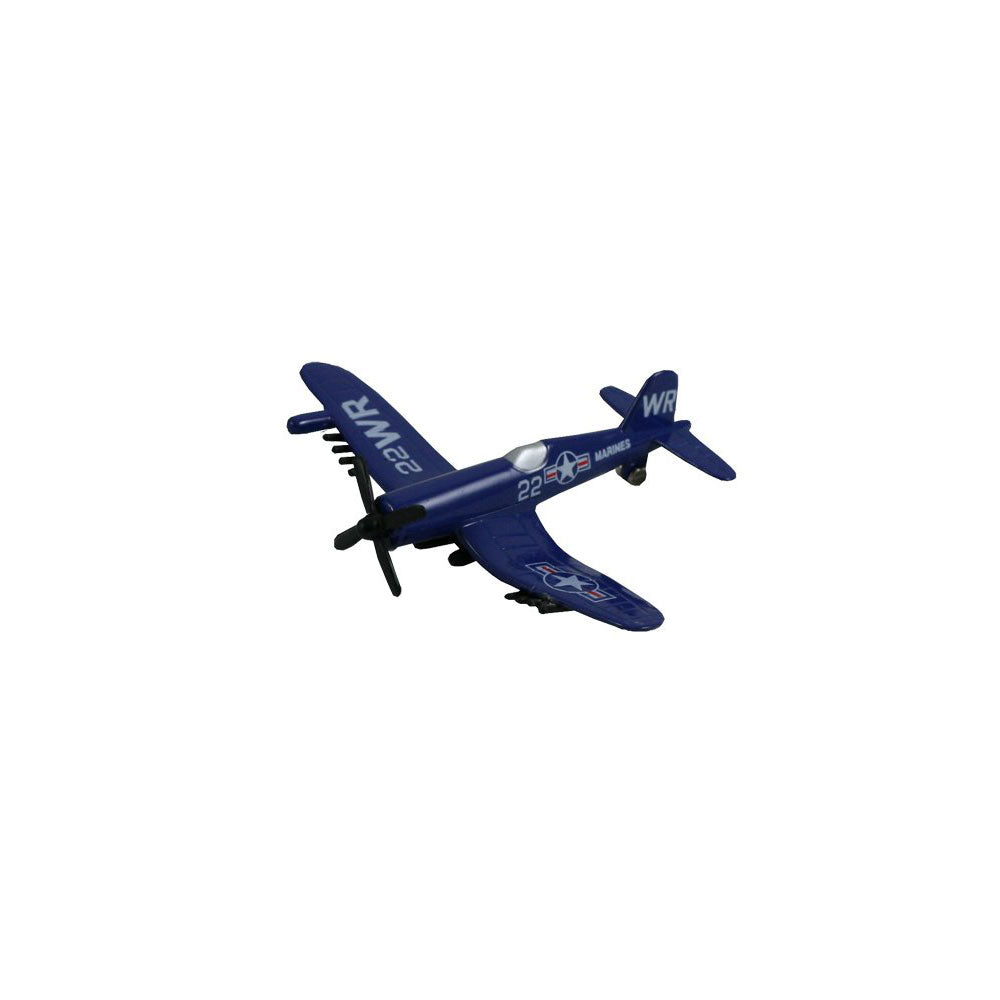3.5 Inch Small Die Cast Metal Blue Vought F4U Corsair World War II Aircraft with Authentic Markings and Details by RedBox / Motormax.