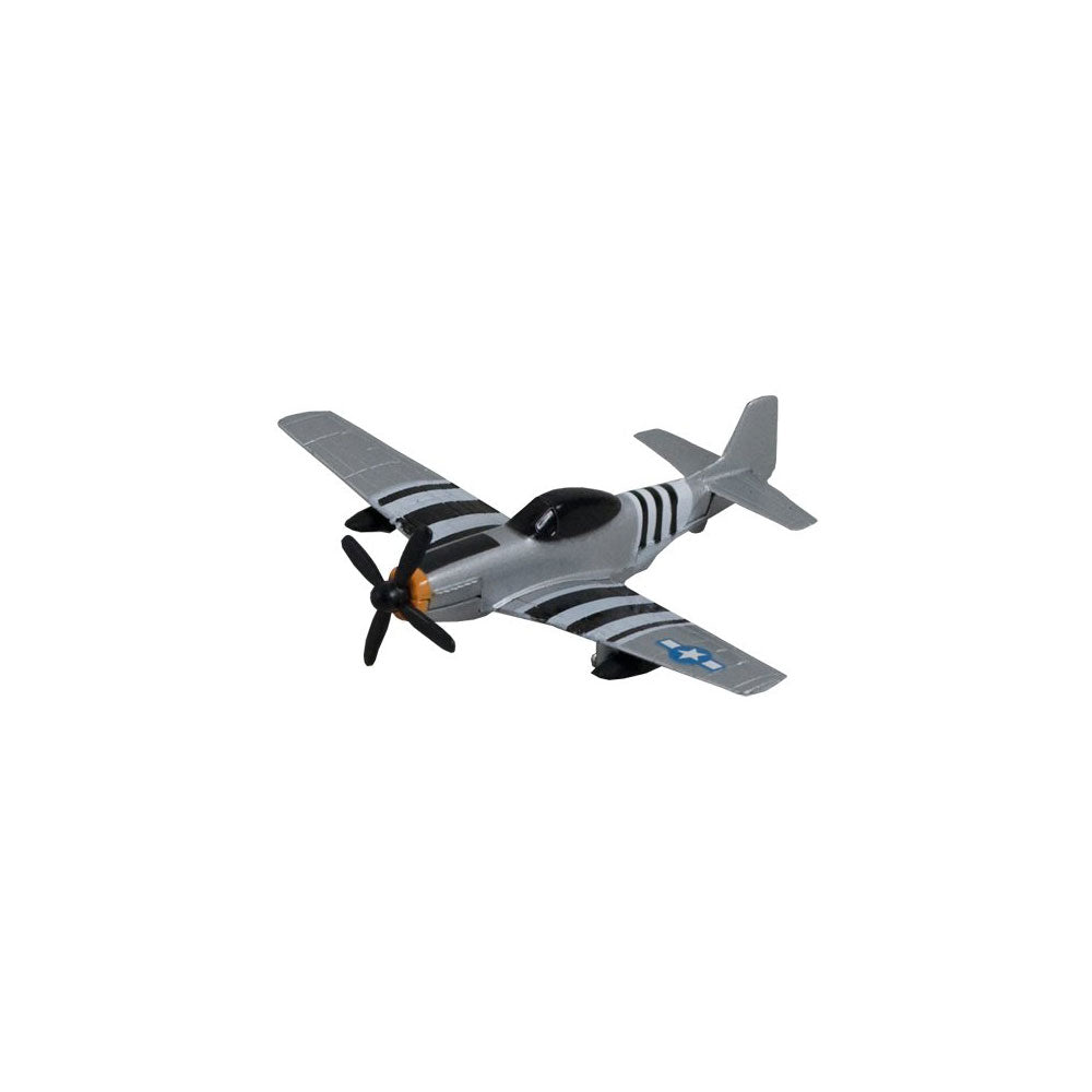 4.5 Inch Small Die Cast Metal North American P-51 Mustang World War II Fighter Aircraft with Authentic Markings and Details by RedBox / Motormax.
