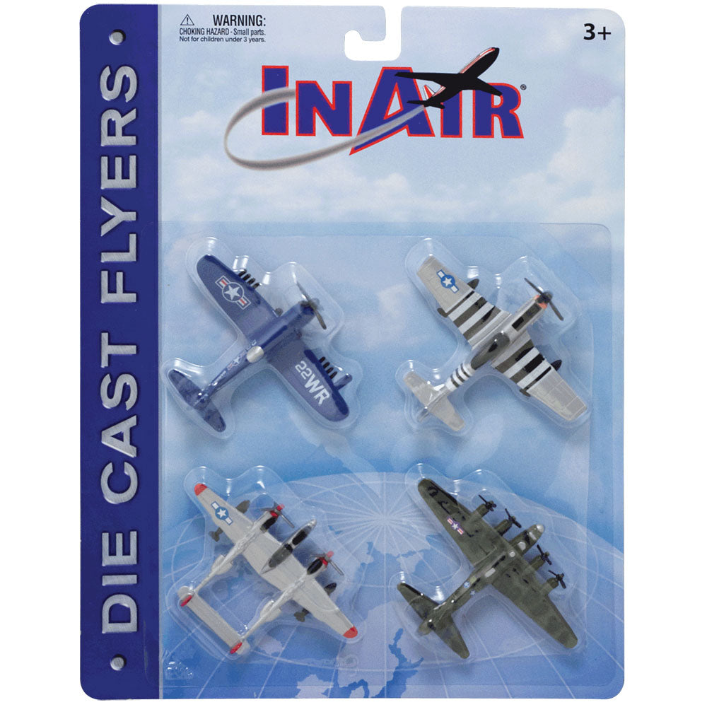 SET of 4 Durable Die Cast World War II Fighter Bomber Aircraft with Authentic Markings and Details including the B-17 Flying Fortress,  Vought F4U Corsair, P-51 Mustang, and P-38 Lightning II in its Original Packaging.