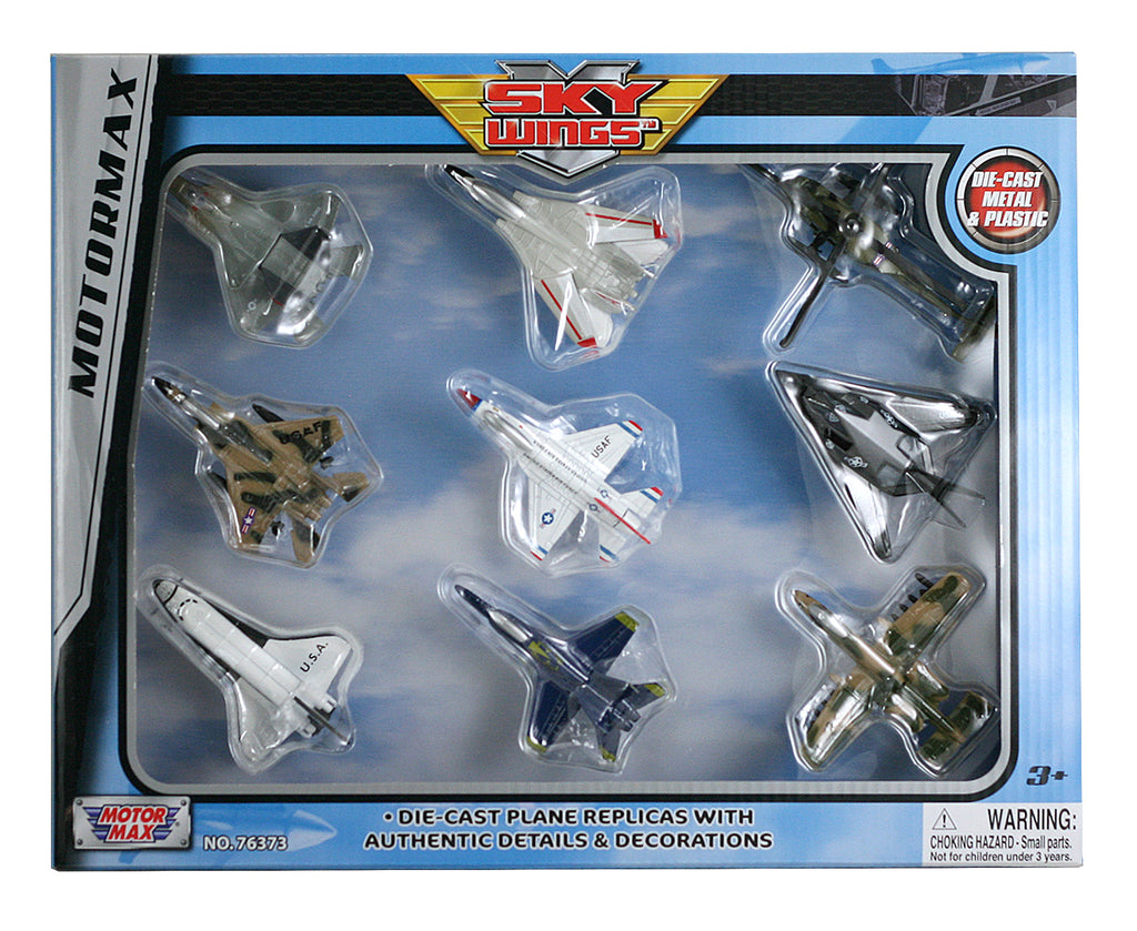 Sky Wings Motormax - Aviation enthusiasts will love this deluxe playset featuring nine diecast metal replicas, including: F-14 Tomcat, F/A-18 Hornet Blue Angels, F-16 Flying Falcon Thunderbirds, F-22 Lightning, F-117 Nighthawk, A-10 Thunderbolt, Space Shuttle Orbiter, AH-64 Apache Helicopter, F-15 Eagle Officially licensed toy airplane models. InAir Diecast Flyers