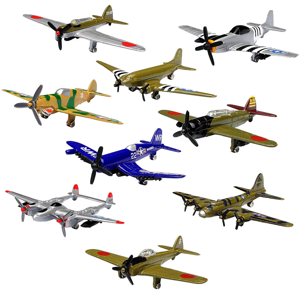 Set of 9 Die Cast Metal World War II Replica Aircraft including P-51 Mustang, P-40 Flying Tiger, D4Y3 Judy, Nakajima Ki-43 Oscar, P-38 Lightning, C-47 Skytrain, B-17 Flying Fortress, F4U Corsair and Nakajima B5N 'Kate' each measuring Approximately 3.5 Inches Long.