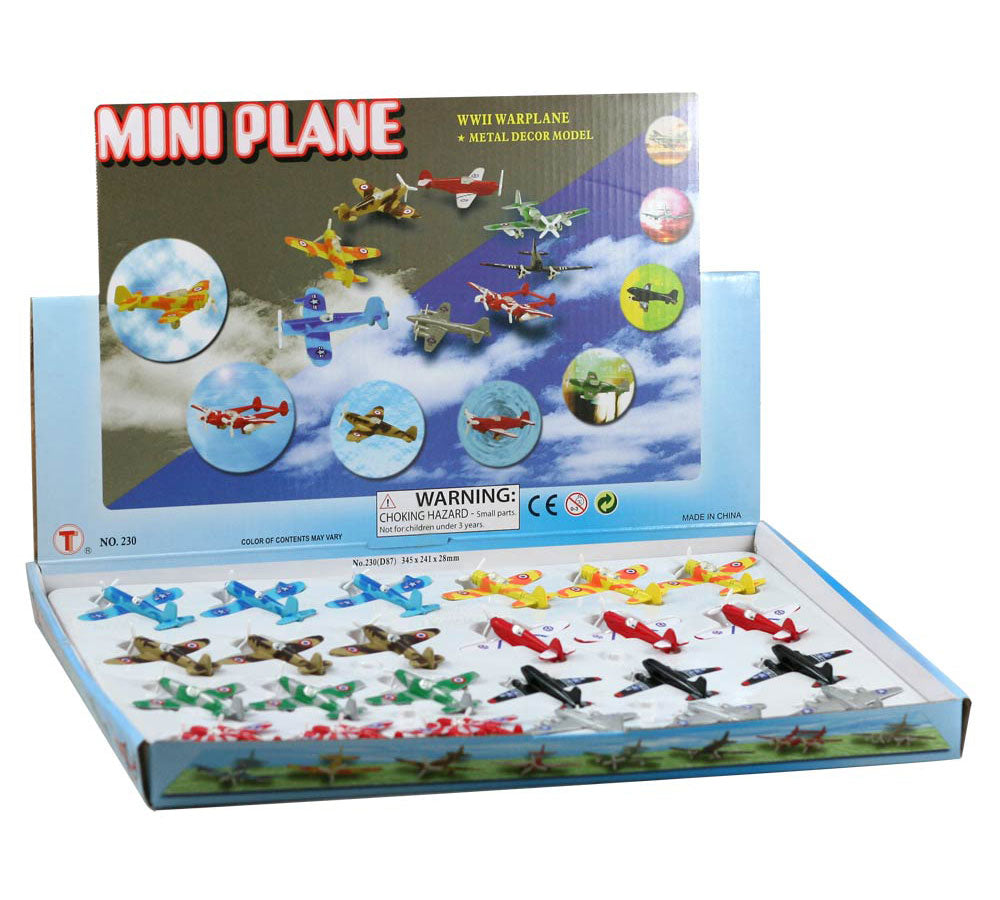 Set of 24 Small Colorful Die Cast Metal World War II Aircraft including 3 of each of the Following Aircraft: F4U Corsair, P-51 Mustang, P-38 Lightning, B-17 Flying Fortress, Supermarine Spitfire, C-47 Skytrain, Messerschmitt Bf 109, and Zero Fighter in its Original Packaging doubling as a Display Tray.