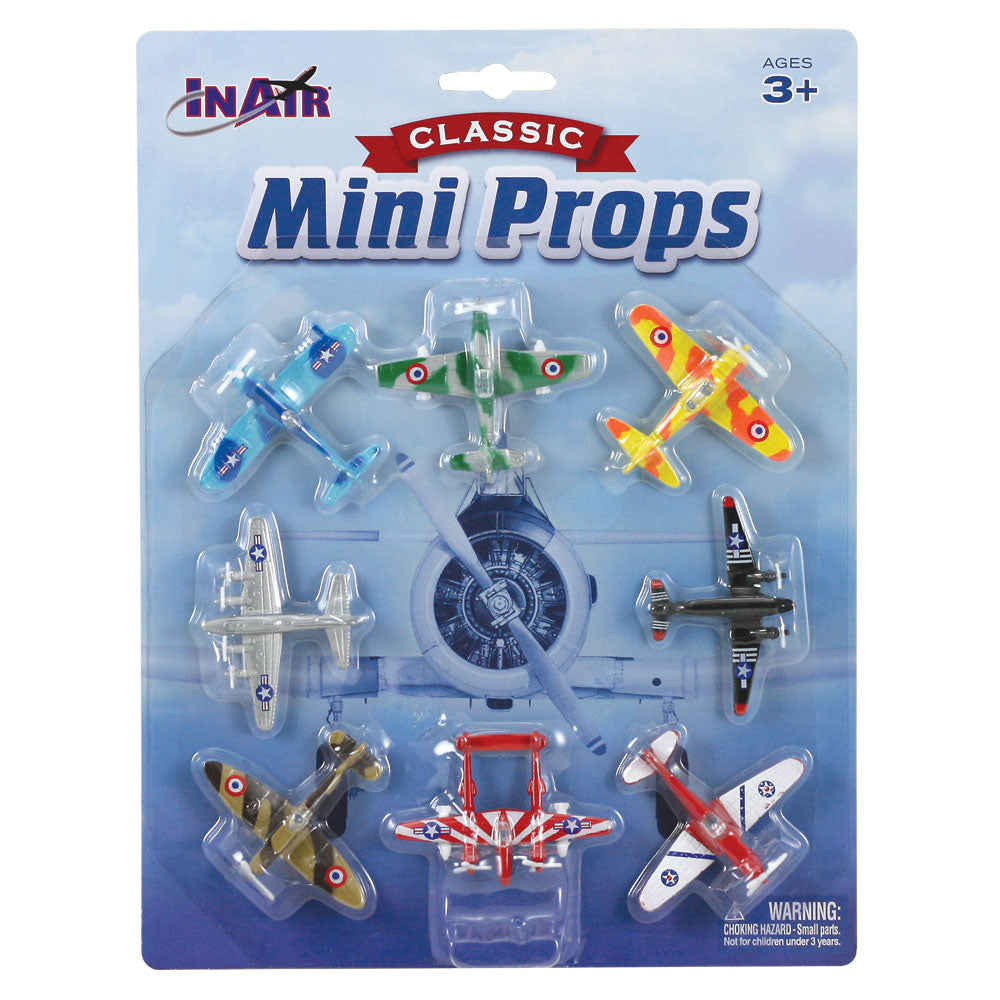 Set of 8 Small Colorful Die Cast Metal World War II Aircraft including an F4U Corsair, P-51 Mustang, P-38 Lightning, B-17 Flying Fortress, Supermarine Spitfire, C-47 Skytrain, Messerschmitt Bf 109, and Zero Fighter in its Original Packaging.