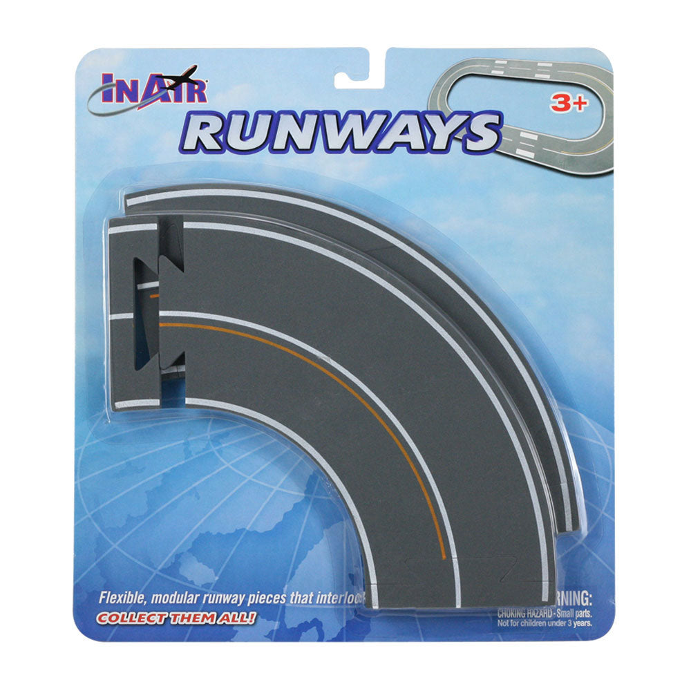 2 Curved Sections of Soft Flexible Modular Foam Runway Pieces that Interlock to Create a Variety of Runway Layouts in its Original Packaging. Combine with Straight & Intersection Pieces by RedBox / Motormax.