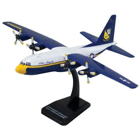Highly Detailed 1:130 Scale Plastic Model Kit Replica of a Lockheed C-130 Blue Angels Fat Albert Hercules Transport Aircraft with Detailed Markings and Display Stand that Includes Everything Needed for Assembly.
