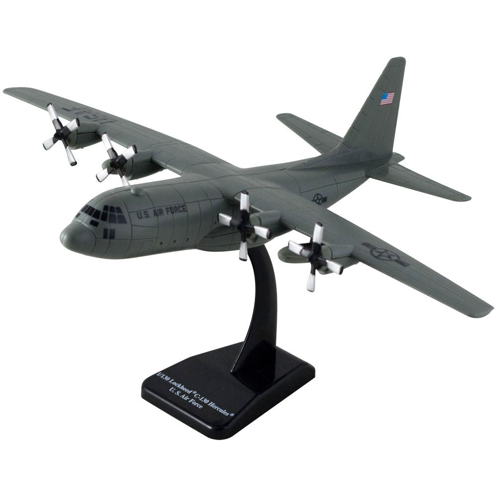 Highly Detailed 1:130 Scale Plastic Model Kit Replica of a Lockheed C-130 Hercules Gray Transport Aircraft with Detailed Markings and Display Stand that Includes Everything Needed for Assembly.