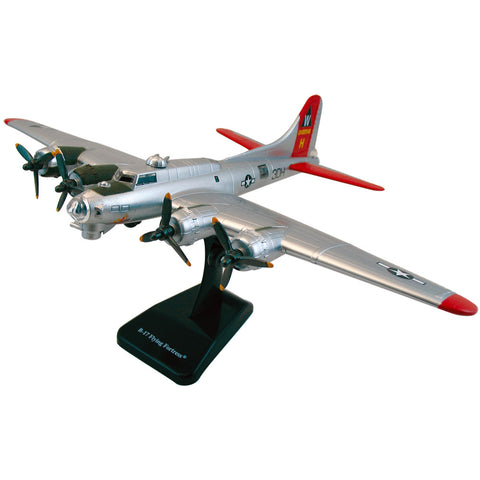 Highly Detailed 1:144 Scale Plastic Model Kit Replica of a Boeing B-17 Flying Fortress Silver Heavy Bomber Aircraft with Detailed Markings and Display Stand that Includes Everything Needed for Assembly.