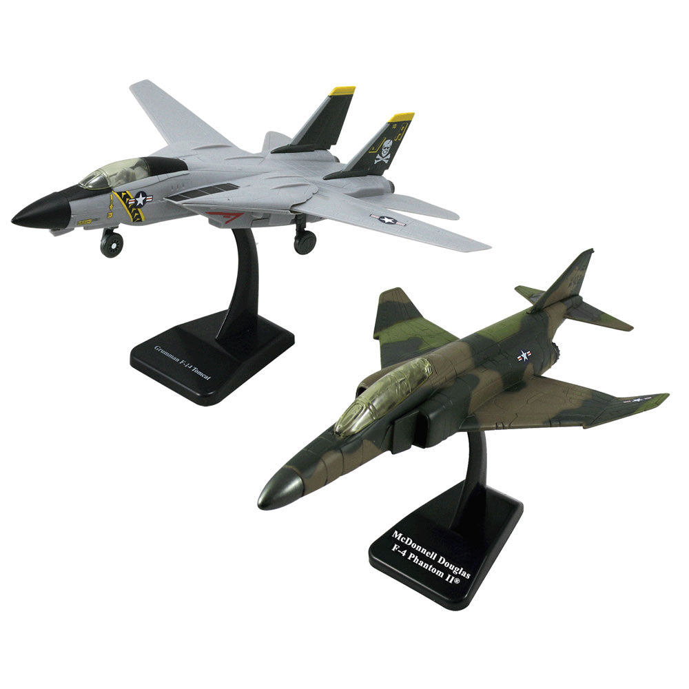 SET of 2 Highly Detailed 1:72 Scale Plastic Model Kit Replicas of Fighter Bomber Aircraft with Detailed Markings and Display Stands that Include Everything Needed for Assembly. F-14 Tomcat Sweep Wing & F-4 Phantom II.