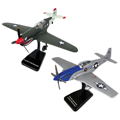 SET of 2 Highly Detailed 1:48 Scale Plastic Model Kit Replicas of World War II Fighter Aircraft with Detailed Markings and Display Stands that Include Everything Needed for Assembly. Curtiss P-40 Warhawk & P-51D Mustang.