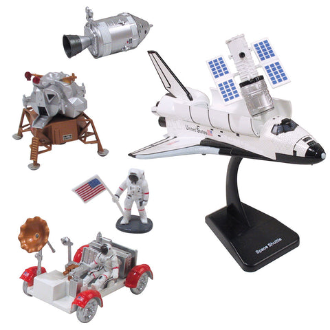 SET of 2 Highly Detailed Plastic Model Kit Replicas of the NASA Space Shuttle Orbiter and Apollo Lunar Module & Lunar Rover with Detailed Markings and Display Stands that Include Everything Needed for Assembly.