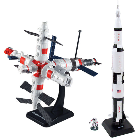 SET of 2 Highly Detailed Plastic Model Kit Replicas of the NASA Apollo Saturn V Rocket and MIR Space Station with Detailed Markings and Display Stands that Include Everything Needed for Assembly.