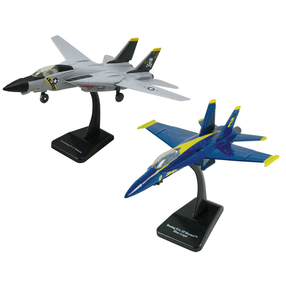SET of 2 Highly Detailed 1:72 Scale Plastic Model Kit Replicas of Modern Fighter Aircraft with Detailed Markings and Display Stands that Include Everything Needed for Assembly. F-14 Tomcat Sweep Wing & F/A-18 Hornet Blue Angels.