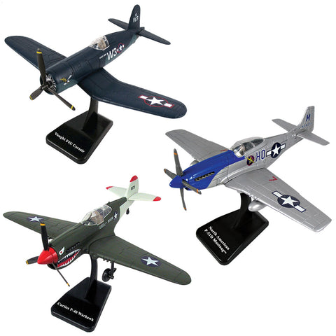 SET of 3 Highly Detailed 1:48 Scale Plastic Model Kit Replicas of World War II Fighter Aircraft with Detailed Markings and Display Stands that Include Everything Needed for Assembly. Curtiss P-40 Warhawk, P-51 Mustang & Vought F4U Corsair.