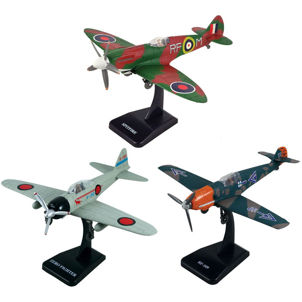 SET of 3 Highly Detailed 1:48 Scale Plastic Model Kit Replicas of World War II Fighter Aircraft with Detailed Markings and Display Stands that Include Everything Needed for Assembly. German Messerschmitt Bf 109, British Supermarine Spitfire, and Japanese Mitsubishi A6M Zero.