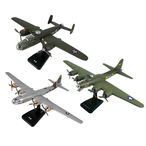SET of 3 Highly Detailed 1:144 Scale Plastic Model Kit Replicas of Heavy Bomber Aircraft with Detailed Markings and Display Stands that Include Everything Needed for Assembly. B-25 Mitchell, B-29 Superfortress, B-17 Flying Fortress.