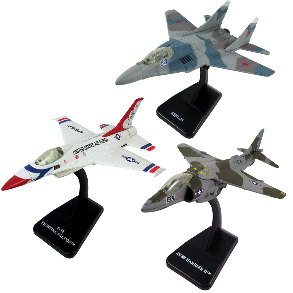 SET of 3 Highly Detailed 1:72 Scale Plastic Model Kit Replicas of Tactical Fighter Aircraft with Detailed Markings and Display Stands that Include Everything Needed for Assembly. General Dynamics F-16 Fighting Falcon Thunderbirds, McDonnell Douglas AV-8B Harrier, Mikoyan MiG 29.