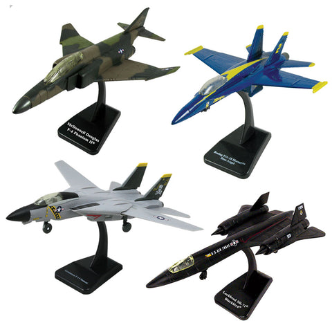 SET of 4 Highly Detailed 1:72 Scale Plastic Model Kit Replicas of Modern Fighter Bomber Aircraft with Detailed Markings and Display Stands that Include Everything Needed for Assembly. F/A-18 Hornet Blue Angels, F-4 Phantom II, F-14 Tomcat Sweep Wing, & SR-71 Stealth Blackbird.