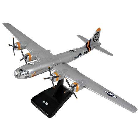 Highly Detailed 1:144 Scale Plastic Model Kit Replica of a Boeing B-29 Superfortress Heavy Bomber Aircraft with Detailed Markings and Display Stand that Includes Everything Needed for Assembly.
