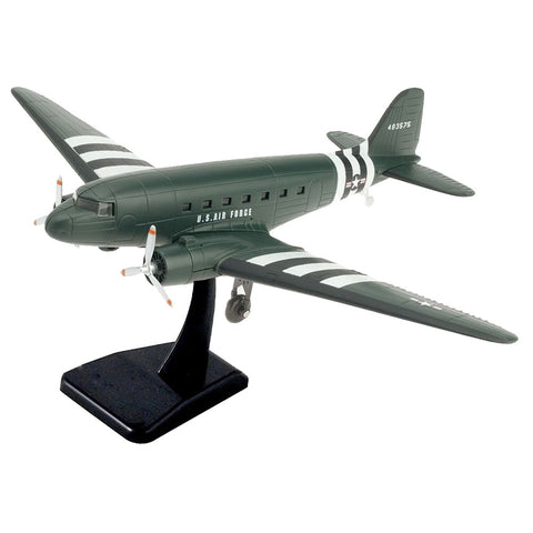 Highly Detailed 1:144 Scale Plastic Model Kit Replica of a Douglas C-47 Skytrain or DC-3 Military World War II Transport Aircraft with Detailed Markings and Display Stand that Includes Everything Needed for Assembly.